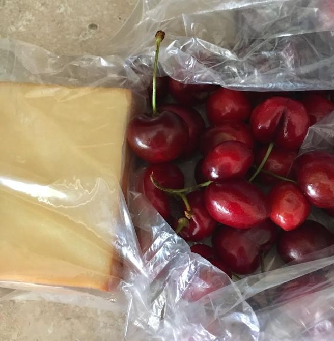 cheese and cherries
